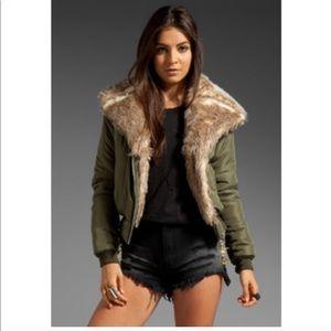 UNIF Amelia Faux Fur Puffy Bomber Jacket